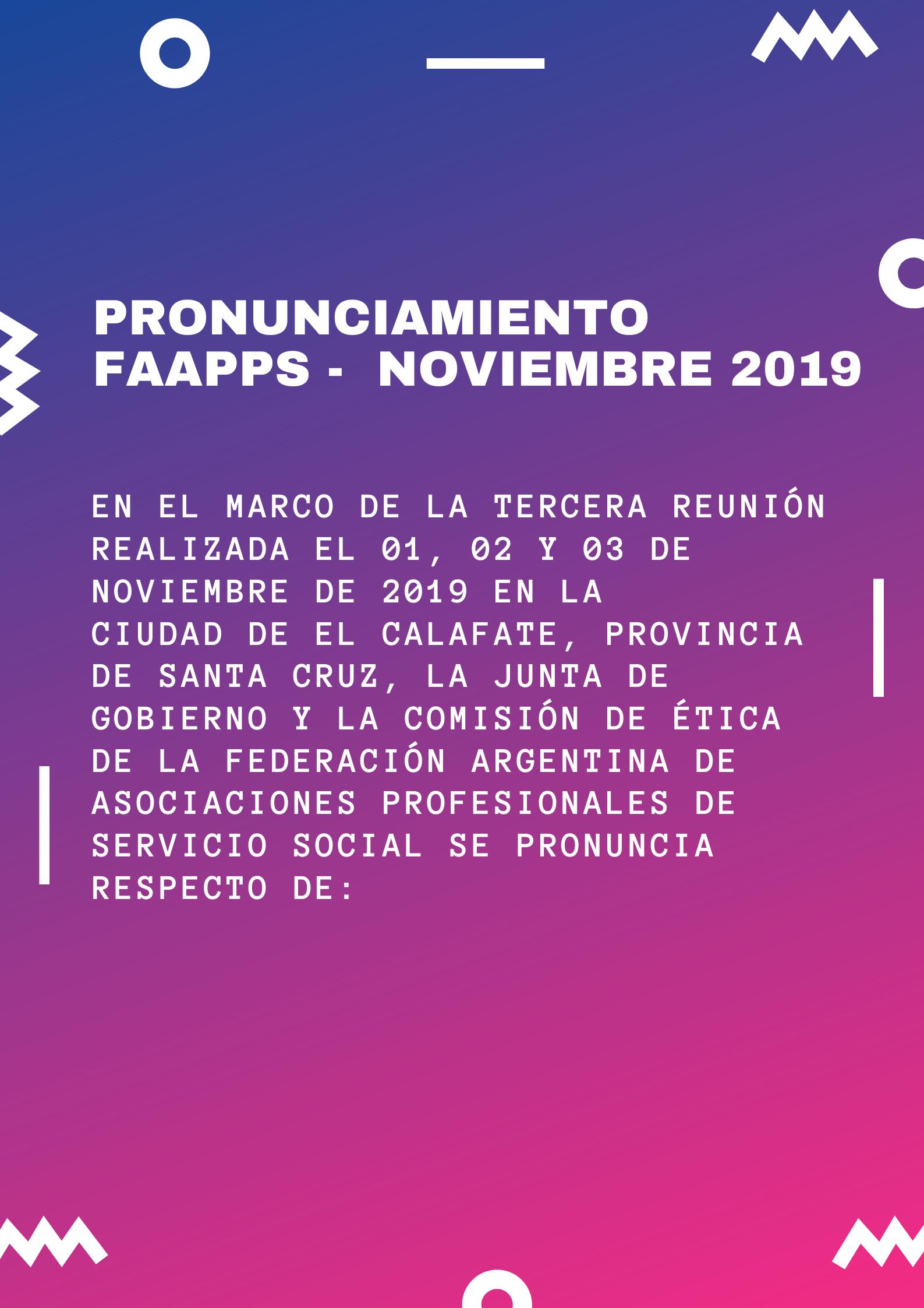 Pronunciamiento FAAPPS – Nov 2019