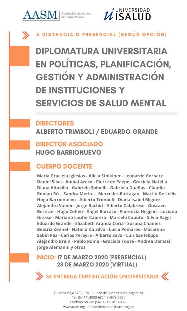 Diplomatura Universitaria en políticas, gestión y administración en Salud Mental